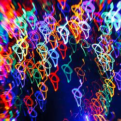 Christmas light abstract. Prescott Park, Portsmouth, New Hampshire.