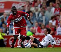 Fotball<br /> England 2005/2006<br /> Foto: SBI/Digitalsport<br /> NORWAY ONLY<br /> <br /> FA Barclays Premiership<br /> Middlesbrough v Charlton<br /> 28/08/2005.<br /> <br /> Middlesbrough's Yakubu attacks.