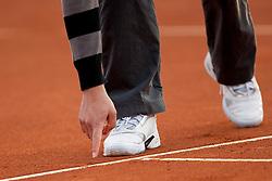 Grega Zemlja of Slovenia (orange) plays against Dudi Sela of Israel (white) during 4th match of Davis cup Slovenia vs. Israel on April 6, 2014 in Portoroz, Slovenia. Photo by Urban Urbanc / Sportida