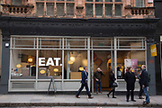 EAT sandwich shop in the City of London, UK. EAT. is a chain of sandwich shops with over 110 branches in the UK, the majority in London.