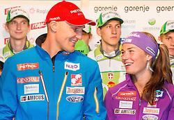 Alpine skier Andrej Sporn and  Tina Maze during Media day of Ski Association of Slovenia before new winter season 2013/14 on October 10, 2013 in Hisa Kulinarike Jezersek, Zg. Brnik, Slovenia. (Photo by Vid Ponikvar / Sportida)