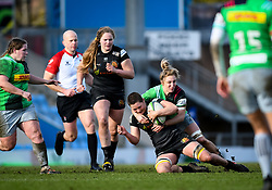 Bethan Dainton of Harlequins attempts a tackle on Poppy Leitch of Exeter Chiefs - Mandatory by-line: Andy Watts/JMP - 06/02/2021 - Sandy Park - Exeter, England - Exeter Chiefs Women v Harlequins Women - Allianz Premier 15s