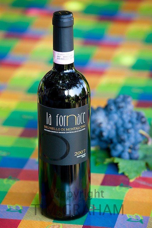 La Fornace Brunello di Montalcino 2007 bottle of red wine at wine estate of La Fornace in Val D'Orcia, Tuscany, Italy