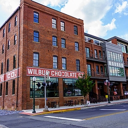Lititz, PA, USA - August 21, 2020: The former Wilbur Chocolate factory has been refurbished into a hotel, restaurant, and food market in the downtown area.