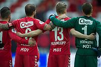 "Fotball<br /> 22. April 2015<br /> Norgesmesterskapet <br /> 4. runde<br /> Brann Stadion<br /> Brann - Sarpsborg 08<br /> Brannspillere under ""Nystemten"" , Alejandto Castro (L) , Vadim Demidov (3R) , Erik Huseklepp (2R) og keeper Alex Horwath (R)<br /> Foto: Astrid M. Nordhaug"