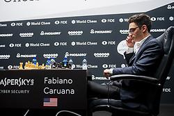 November 10, 2018 - London, GREAT BRITAIN - 181110 Fabiano Caruana of USA during round 2 of The FIDE World Chess Championship 2018 on November 10, 2018 in London. .Photo: Fredrik Varfjell / BILDBYRÃ…N / kod FV / 150158 (Credit Image: © Fredrik Varfjell/Bildbyran via ZUMA Press)