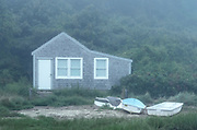 Charming fishing shack cottage in morning mist.