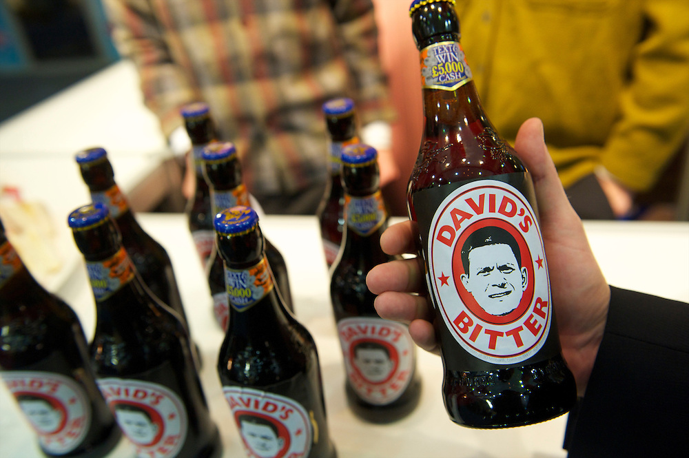 Mocking David Miliband's defeat in the leadership race of the Labour party, bottles of beer named David's Bitter are on sale as Conservatives party souvenirs in the giftshop on the first day of the Conservatives Party Conference at the ICC, Birmingham, UK on October 3, 2010.  This is the first conference since the government coalition with the Liberal Democrats.
