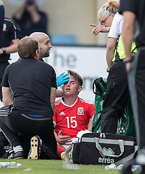 RHYL, WALES - Saturday, September 2, 2017: Wales' Rhys Norrington-Davies gets a head injury during an Under-19 international friendly match between Wales and Iceland at Belle Vue. (Pic by Gavin Trafford/Propaganda)