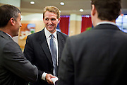 14 FEBRUARY 2011 - PHOENIX, AZ: US Congressman JEFF FLAKE (center) talks to his staff before announcing that he is running for the US Senate seat being vacated by retiring US Sen. Jon Kyl before Flake's press conference in Phoenix, Monday, Feb.14. Congressman Flake has been in the US House of Representatives since 2001. He is considered a conservative Republican but supports loosening sanctions against Cuba and some form of comprehensive immigration reform. He represents a conservative neighborhood in Mesa, AZ, a suburb of Phoenix.   Photo by Jack Kurtz