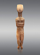 Female Cycladic statue figurine with folded arms of the Spedos and Dokathismata type. Early Cycladic Period II (2800-3200) from Naxos. National Archaeological Museum, Athens.   Grey background.<br /> <br /> <br /> This Cycladic statue figurine is of the Spedos type standing on tip tie with bended knees and arms folded under the breasts with head raiised. .<br /> <br /> If you prefer to buy from our ALAMY PHOTO LIBRARY  Collection visit : https://www.alamy.com/portfolio/paul-williams-funkystock/cycladic-art-artefacts.html Type into the LOWER SEARCH WITHIN GALLERY box to refine search by adding background colour, place, museum etc<br /> <br /> Visit our CYCLADIC CIVILISATIONS PHOTO COLLECTIONS for more photos to download or buy as wall art prints https://funkystock.photoshelter.com/gallery-collection/Cycladic-civilisation-Ancient-Greek-Artefacts-art-Photos-Pictures-Images/C0000CmevVvnC.XU