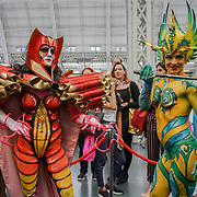 Olympia London, London, England, UK. Cilicia Elvin by Venice Marshall MUA showcases her latest works at Comic Strip Couture Body Painting Competition, at The Olympia Beauty show at Kensington Olympia in London on 1st October 2017.