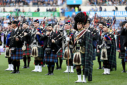 A marching band on the pitch before the NatWest 6 Nations match at the Stadio Olimpico, Rome.