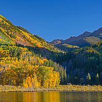 Fall colors glow in the mountains near Marble, Colorado.