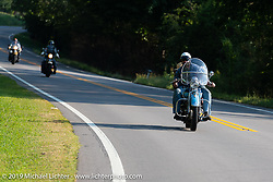 Evan Riggle riding his 1942 Indian 4-cylinder in the Cross Country Chase motorcycle endurance run from Sault Sainte Marie, MI to Key West, FL (for vintage bikes from 1930-1948). Stage 5 had riders cover 213 miles from Bowling Green, KY to Chatanooga, TN USA. Tuesday, September 10, 2019. Photography ©2019 Michael Lichter.