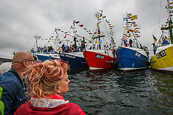 June 24, 2017 - Puck, Poland - Fishing boats are seen connected during the annual Kashubian fishermen sea pilgrimage. Every year fishermen from Kashubia region pay honor to colleagues who have died on the Baltic sea and for a prosperous fishing season. (Credit Image: © Michal Fludra/NurPhoto via ZUMA Press)