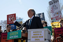 March 26, 2019 - Washington, D.C, United States - U.S. Sen. Ed Markey joined by activist made a rally outside Congress arguing the Republicans have no plan to combat climate change and they're blocking the only one we have. ....The Senate is expected to vote Tuesday afternoon at 4:00 PM to begin debate on a sweeping resolution to combat climate change, the Green New Deal, which was introduced by freshman Rep. Alexandria Ocasio-Cortez, of New York, and Massachusetts Senator Ed Markey.  Washington, D.C. March 26, 2019. (Credit Image: © Aurora Samperio/NurPhoto via ZUMA Press)