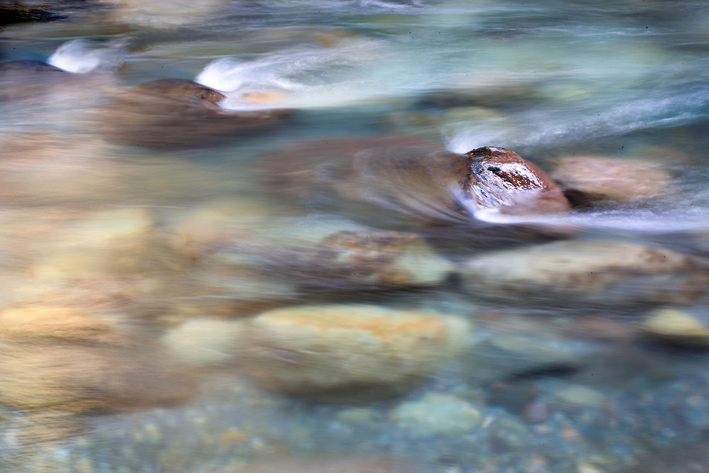 Painterly Abstract of Flowing Water Over Riverrocks, Ohanapecoosh River, Mt. Rainier National Park