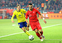 November 17, 2018 - Konya, Türkiye - Sweden's Viktor Claesson and Turkey's Kaan Ayhan during Turkey vs. Sweden UEFA Nations League, League B game at Konya, Turkey, 17th Nov., 2018 (Credit Image: © Mahmut Burak Burkuk/Depo Photos via ZUMA Wire)