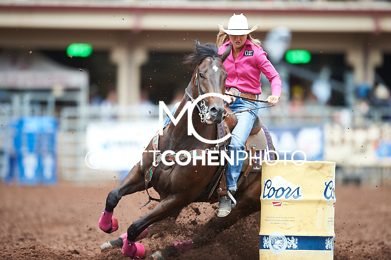 Barrel racer Ivy Hurst of Walnut Springs, TX competes at the Pikes Peak or Bust Rodeo in Colorado Springs, CO.<br /> <br /> <br /> UNEDITED LOW-RES PREVIEW<br /> <br /> <br /> File shown may be an unedited low resolution version used as a proof only. All prints are 100% guaranteed for quality. Sizes 8x10+ come with a version for personal social media. I am currently not selling downloads for commercial/brand use.