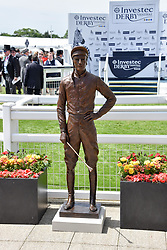 Lester Piggott statue  at the 2d day of The Investec Derby Festival - Derby Day, Epsom Racecourse, Epsom, Surrey, UK. 01 June 2019.
