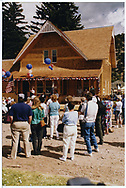View of rebuilt Dolores depot during rededication celebration.<br /> Galloping Goose Historical Socilety  Dolores, CO  6/29/1991