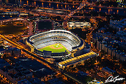 Aerial view of Yankee Stadium at night, photographed from a helicopter.