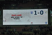 Scoreboard during the FIFA World Cup Qualifier match between England and Slovenia at Wembley Stadium, London, England on 5 October 2017. Photo by Martin Cole.