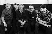Adam Clayton, Larry Mullen, Yusuf Islam (Cat Stevens), Bono and The Edge (U2) backstage Island 50 concerts Hammersmith Empire - London 2009