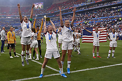 July 7, 2019 - Lyon, France - Megan Rapinoe (Reign FC) and Alex Morgan (Orlando Pride) of United States celebrate whit her teammates after winning the 2019 FIFA Women's World Cup France Final match between The United State of America and The Netherlands at Stade de Lyon on July 7, 2019 in Lyon, France. (Credit Image: © Jose Breton/NurPhoto via ZUMA Press)