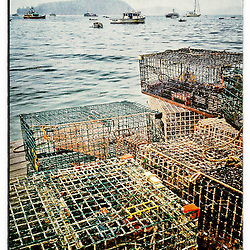 """Lobster traps on a dock on a rainy morning in Bar Habor, Maine. iPhone photo - suitable for print reproduction up to 8"""" x 12""""."""