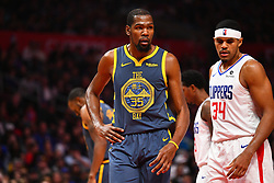November 13, 2018 - Los Angeles, CA, U.S. - LOS ANGELES, CA - NOVEMBER 12: Golden State Warriors Forward Kevin Durant (35) looks on during a NBA game between the Golden State Warriors and the Los Angeles Clippers on November 12, 2018 at STAPLES Center in Los Angeles, CA. (Photo by Brian Rothmuller/Icon Sportswire) (Credit Image: © Brian Rothmuller/Icon SMI via ZUMA Press)