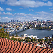 Panoramic view of Golden Horn, Metro bridge, Istanbul, Turkey