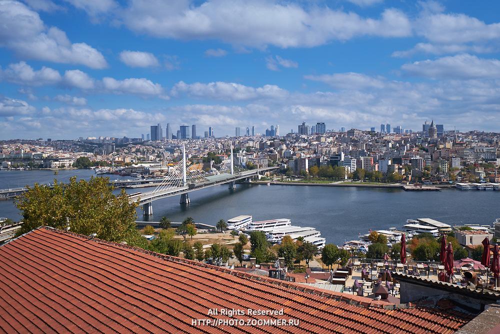 Panoramic view of Golden Horn, Metro bridge, Istanbul, Turkey