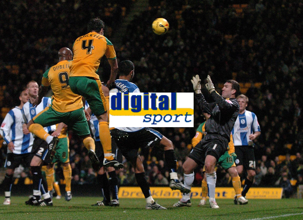 Photo: Ashley Pickering.<br />Norwich City v Sheffield Wednesday. Coca Cola Championship. 09/12/2006.<br />Dion Dublin (no. 9) scores Norwich's only goal