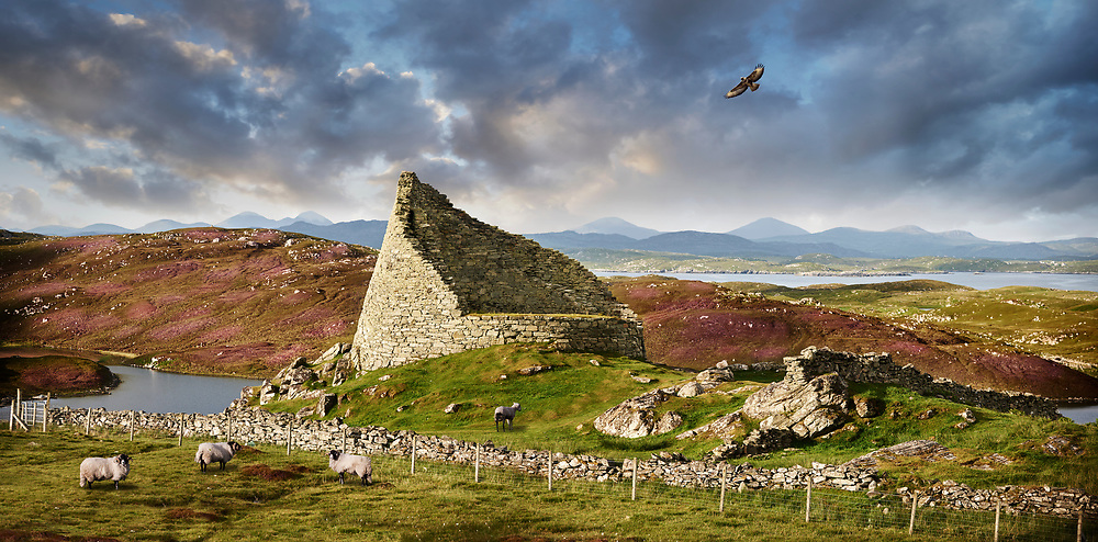Towering Delusions - Dun Carloway Broch on the Isle of Lewis in the Outer Hebrides, Scotland. Brochs are among Scotland's most impressive prehistoric buildings and were the precursors of the Medieval Scottish Tower Houses. By photographer Paul E Williams.<br /> <br /> Visit our LANDSCAPE PHOTO ART PRINT COLLECTIONS for more wall art photos to browse https://funkystock.photoshelter.com/gallery-collection/Places-Landscape-Photo-art-Prints-by-Photographer-Paul-Williams/C00001WetsxVxNTo