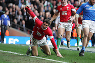 James Hook of Wales dives over to score his 2nd try. RBS Six nations championship 2010, Wales v Italy at the Millennium Stadium in Cardiff  on Sat 20th March 2010. pic by Andrew Orchard, Andrew Orchard sports photography,