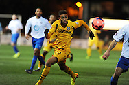 Christian Jolley of Newport county in action.FA cup with Budweiser, 1st round replay, Newport county v Braintree Town at Rodney Parade in Newport, South Wales on Tuesday 19th November 2013. pic by Andrew Orchard, Andrew Orchard sports photography,