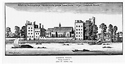 Lambeth Palace, London, the residence of the Archibishop of Canterbury, viewed across the River Thames. After and engraving of 1647  by Wenceslaus Hollar.