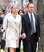 CHARLOTTESVILLE, VA - FEBRUARY 08: Marta Murphy (left) walks to the Charlottesville Circuit Court for her son, George Huguely's trial. Huguely was charged in the May 2010 death of his girlfriend Yeardley Love. She was a member of the Virginia women's lacrosse team. Huguely pleaded not guilty to first-degree murder. (Credit Image: © Andrew Shurtleff