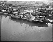 """Ackroyd 14339-1 """"Schnitzer Industires. Aerials of barge with whirly cranes. December 20, 1966"""""""