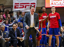 Jan 19, 2019; Morgantown, WV, USA; Kansas Jayhawks head coach Bill Self yells from the bench during the second half against the West Virginia Mountaineers at WVU Coliseum. Mandatory Credit: Ben Queen-USA TODAY Sports