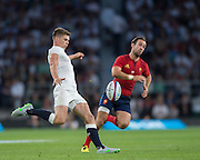 Twickenham, England.  Owen FARRELL, kicking for touch, during the QBE International. England vs France [World cup warm up match]  Saturday.  15.08.2015,  [Mandatory Credit. Peter SPURRIER/Intersport Images].