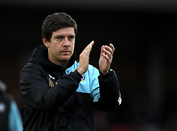 Bristol Rovers Manager Darrell Clarke applauds the traveling fans at AFC Wimbledon - Mandatory byline: Robbie Stephenson/JMP - 07966 386802 - 26/12/2015 - FOOTBALL - Kingsmeadow Stadium - Wimbledon, England - AFC Wimbledon v Bristol Rovers - Sky Bet League Two