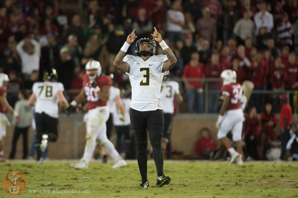 November 14, 2015; Stanford, CA, USA; Oregon Ducks quarterback Vernon Adams Jr. (3) celebrates after a touchdown against the Stanford Cardinal during the third quarter at Stanford Stadium. The Ducks defeated the Cardinal 38-36.