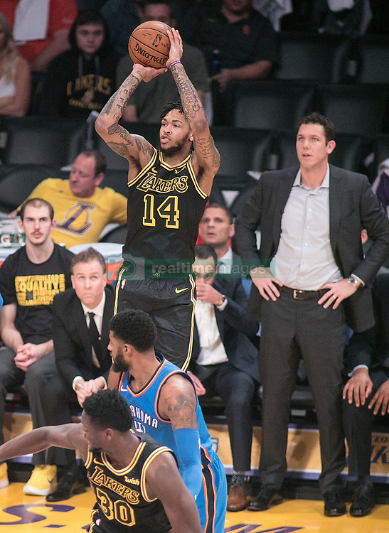February 8, 2018 - Los Angeles, California, U.S - Brandon Ingram #14 of the Los Angeles Lakers takes a jump shot during their NBA game with the Oklahoma Thunder on Thursday February 8, 2018 at the Staples Center in Los Angeles, California. Lakers vs. Thunder. (Credit Image: © Prensa Internacional via ZUMA Wire)