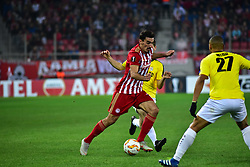 November 8, 2018 - Athens, Attiki, Greece - Lazaros Christodoulopoulos (no 11) of Olympiacos tris to avoid the pressure from Bryan Melissa (no 27) of F91 Dudelange..Olympiacos has won F91 Dudelange 5-1 for the UEFA Europa League. (Credit Image: © Dimitrios Karvountzis/Pacific Press via ZUMA Wire)