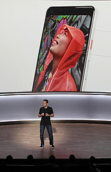 Google's Mario Queiroz unveils the company's new Pixel 2 phones, Wednesday, October 4, 2017, at the SFJazz Center in San Francisco, CA, USA. Photo by Karl Mondon/Bay Area News Group/TNS/ABACAPRESS.COM