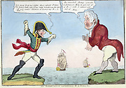 An altercation concerning r-l wives, etc.', Lewis Marks, 1814. Napoleon I on Elba shouting at George Prince of Wales in England that he has been deprived of his r-l wife. George says Napoleon is fortunate. He cannot get rid of his wife.