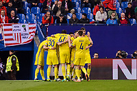 CF Rostov's players celebrating a goal during a match of UEFA Champions League at Vicente Calderon Stadium in Madrid. November 01, Spain. 2016. (ALTERPHOTOS/BorjaB.Hojas)